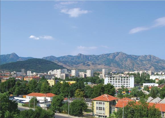 Детайлна снимка на град Сливен