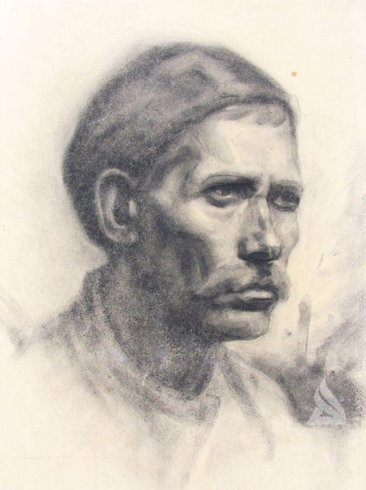 """Автор: Димитър Кавръков Наименование: """"Портрет на мъж""""/етюд/,1934 г. Техника/размер: ,хартия,въглен 49,5/41 см."""